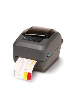 Zebra GX430t etikettskrivare för etiketter upp till 4 tum bredd. Direkttermo eller termotransfer