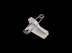 Krokodilklämma i metall på säkerhetsnål och självhäftande platta