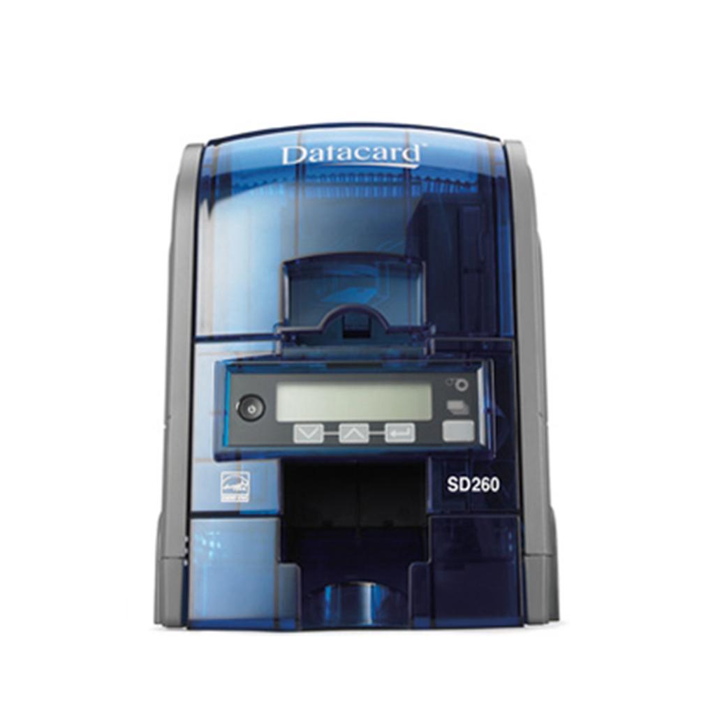 Datacard SD260 kortskrivare front. Enkelsidig utskrift av plastkort.  Kan utrustas med magnetkodare, RFID och Smart Card läsare